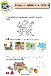 Différencier intérieur et extérieur – L'espace : 3eme Maternelle – Cycle Fondamental