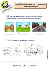 Différents lieux de vie (campagne, ville et montagne) – L'espace : 2eme Maternelle – Cycle Fondamental
