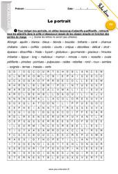 Vocabulaire du portrait – Exercices avec correction : 4eme, 5eme Primaire