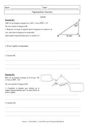 Trigonométrie – Calculs – Révisions : 3eme Secondaire