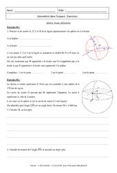 Sphère, boule, définitions – Exercices : 3eme Secondaire