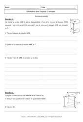 Sections de solides – Révisions : 3eme Secondaire