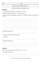 Calcul – Déterminer une fonction linéaire ou affine – Révisions : 3eme Secondaire