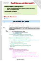 Problèmes multiplicatifs – Fiche de préparation : 5eme Primaire