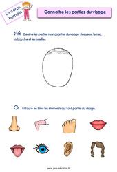 Connaitre les parties du visage – Le corps humain : 2eme, 3eme Maternelle – Cycle Fondamental