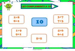 Compléments à 10 – Affiche de classe : 1ere, 2eme Primaire