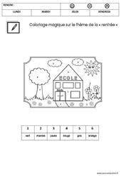 Coloriage magique sur le thème de la «rentrée» : 2eme Maternelle – Cycle Fondamental