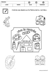 Coloriage sur le thème de la «rentrée» : 2eme Maternelle – Cycle Fondamental