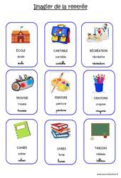 Scène et vocabulaire sur le thème de la «rentrée» : 1ere Maternelle – Cycle Fondamental