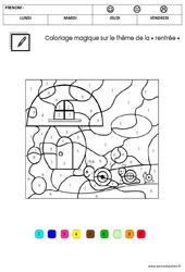 Coloriage magique sur le thème de la «rentrée» : 3eme Maternelle – Cycle Fondamental