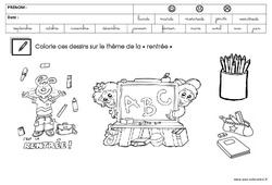 Coloriage sur le thème de la «rentrée» : 1ere, 2eme, 3eme Maternelle – Cycle Fondamental