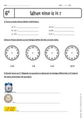 Heures et Minutes – Exercices corrigés – What time is it, please? : 6eme Primaire