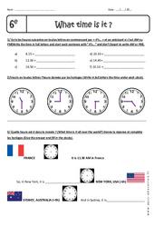 What time is it, please? – Heure et Minute – Exercices à imprimer : 6eme Primaire