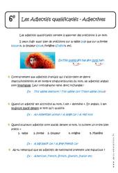 Adjectifs qualificatifs – Adjectives – Cours – Anglais : 6eme Primaire