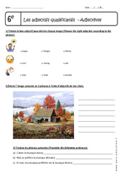 Adjectives – Exercices sur les adjectifs qualificatifs en anglais : 6eme Primaire