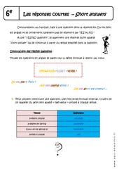 Réponses courtes – Cours – Short answers : 6eme Primaire