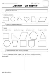 Polygones – Examen Evaluation : 3eme Primaire