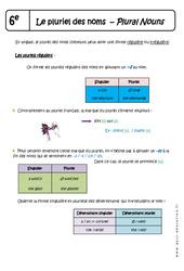 Pluriel des noms – Plural Nouns – Cours : 6eme Primaire