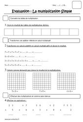 Multiplication – Examen Evaluation : 2eme Primaire