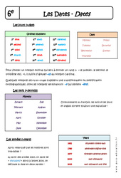 Dates – Cours – Days – Months – Years : 6eme Primaire