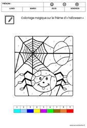 Coloriage magique d'Halloween : 3eme Maternelle – Cycle Fondamental