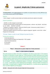 Passé simple des 3 èmes personnes – Fiche de préparation : 4eme Primaire