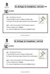 Comment distinguer les homophones – Fiches sont/son? – Cours, Leçon : 5eme Primaire