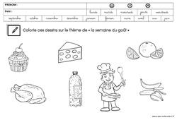 Coloriage sur le thème « la semaine du goût » : 3eme Maternelle – Cycle Fondamental