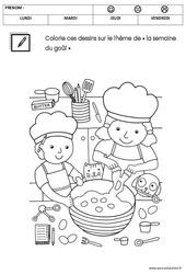 Coloriage sur le thème « la semaine du goût » : 2eme Maternelle – Cycle Fondamental