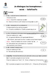 Distinguez les homophones – Fiches ou – où – la – là – l'as – l'a – Cours, Leçon : 4eme, 5eme Primaire