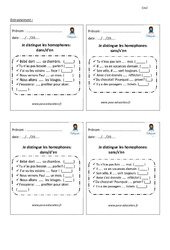 Je distingue les homophones dans – d'en – sans – s'en – Entrainement – Examen Evaluation – Bilan avec correction : 5eme Primaire
