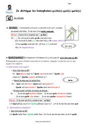 Je distingue les homophones- Fiches qu'elle(s) – quel(s) – quelle(s) – Cours, Leçon : 5eme Primaire