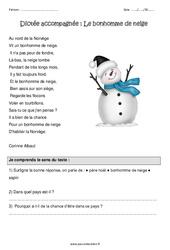 Le bonhomme de neige – Dictée accompagnée : 4eme Primaire