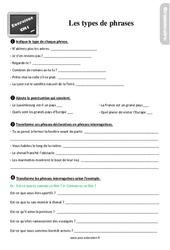 Exercices, révisions sur les types de phrases au  avec les corrections : 4eme Primaire