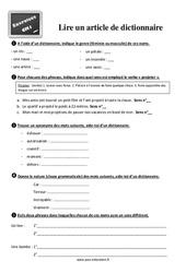 Exercices, révisions sur lire un article de dictionnaire au  avec les corrections : 4eme Primaire