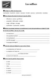 Exercices, révisions sur les suffixes au  avec les corrections : 4eme Primaire