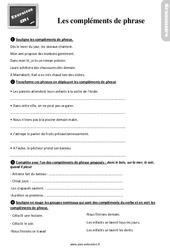 Exercices, révisions sur les compléments de verbe, compléments de phrase au  avec les corrections : 4eme Primaire