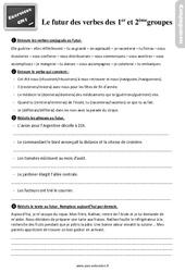 Exercices, révisions sur le futur des verbes des 1er ème groupes au  avec les corrections : 4eme Primaire