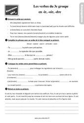 Exercices, révisions sur le présent des verbes du 3e groupe en – ir, – oir, – dre au  avec les corrections : 5eme Primaire