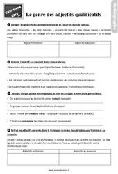 Exercices, révisions sur le genre des adjectifs qualificatifs au  avec les corrections : 5eme Primaire