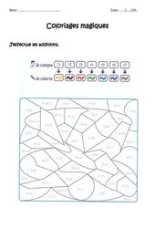 Additionner 10 + unité – Coloriage magique à imprimer : 1ere Primaire