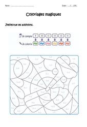 Additionner de 9 à 14 – Coloriage magique à imprimer : 1ere Primaire