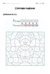 Additionner de 1 à 5 – Coloriage magique à imprimer : 1ere Primaire