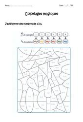 Additionner de 1 à 10 – Coloriage magique à imprimer : 1ere Primaire