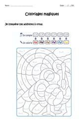 Compléter des additions à trous jusqu'à 9 – Coloriage magique à imprimer : 1ere Primaire