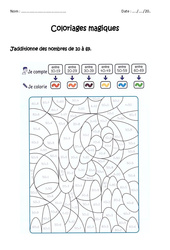 Additionner des nombres de 0 à 69 – Coloriage magique à imprimer : 1ere, 2eme Primaire