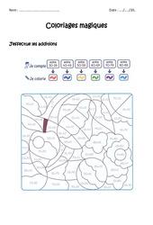Additionner des nombres de 0 à 100 – Coloriage magique à imprimer : 1ere, 2eme Primaire
