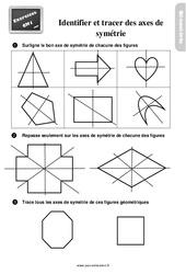 Exercices, révisions sur identifier et tracer des axes de symétrie au  avec les corrections : 4eme Primaire