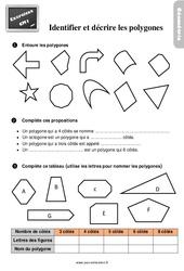 Exercices, révisions sur décrire et reconnaître des polygones au  avec les corrections : 4eme Primaire