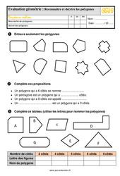 Évaluation, bilan sur décrire et reconnaître des polygones au  avec la correction : 4eme Primaire